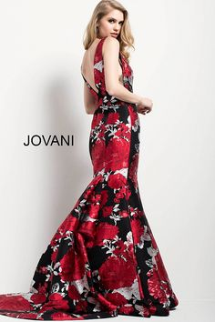 db90a83d8f3 Multi Floral Print Sleeveless Mermaid Evening Gown 54809