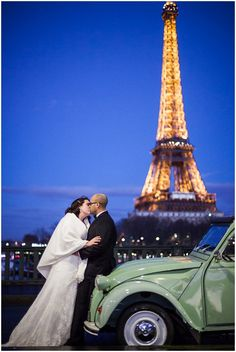 Eiffel Tower wedding at night | © Catherine O'Hara Photography via French Wedding Style