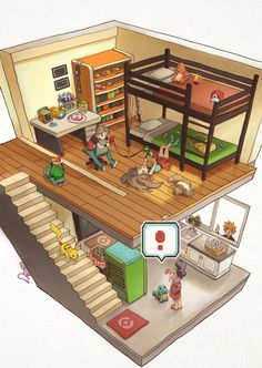 """Hey neat! Someone drew a Poke'mon house basically using the same """"block"""" format as the game!"""