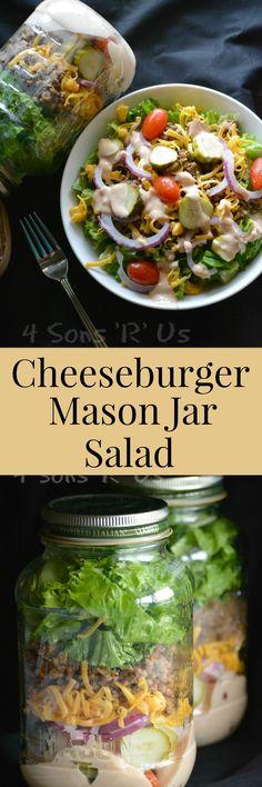 cheeseburger-mason-jar-salad-pin Jar Recipes, Lunch Recipes, Keto Recipes, Salad Recipes, Cooking Recipes, Cooking 101, Simple Recipes, Mason Jar Lunch, Mason Jar Meals