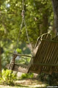 peaceful swing in a quiet corner of the yard