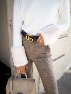 Gucci Belt & Faux Fur Sleeves
