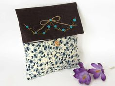 Fabric Clutch Bag  Purple and Blue  Foldover Make up by cosyribbon