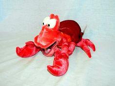 Original Disney Store The Little Mermaid 12  plush bean bag SEBASTIAN the crab