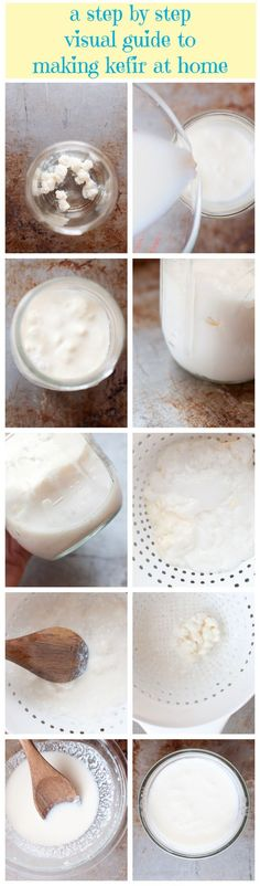 A Step by Step Guide to Making Kefir in Pictures Hey friends! First read my post: What is Kefir? Kefir How To Make, Making Kefir, Probiotic Foods, Fermented Foods, Healthy Drinks, Healthy Snacks, Healthy Recipes, Kefir Recipes, Cooking Recipes