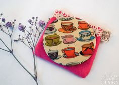 #Teacups  Illustration Fabric Pocket Mirror Cosmetic Mirror Makeup Mirror Gifts for Women Fabric Covered Mirror Mothers Day Gift Ceridwen Hazelchild Design