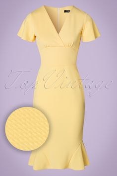 62cb7082dfa3 50s Peggy Waterfall Pencil Dress in Yellow