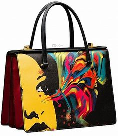 Art school chic, Prada--Saffiano leather bag with El Mac painting design, price on request. Prada Handbags, Purses And Handbags, Handbags 2014, Ladies Handbags, Prada Bag 2014, Prada Tote, Sac D'art, Painted Bags, Prada Spring