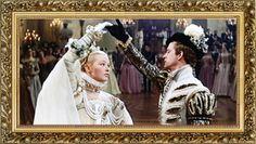 """Marina Vlady (la Princesse de Clèves) et Jean-François Poron (le Duc de Nemours) dansent 'la Glorieuse' dans la première scène du film de Jean Delannoy, """"La Princesse de Clèves"""" (1961), d'après le roman de Madame de La Fayette (1678)"""