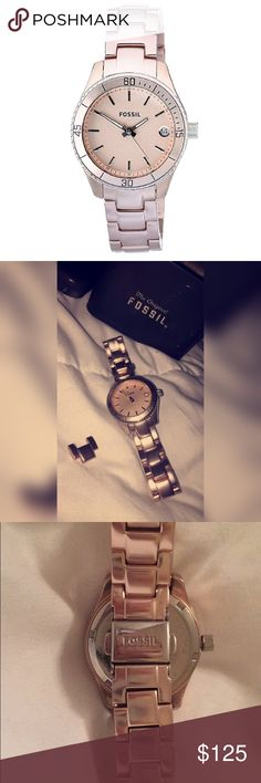 Rose Gold Fossil Watch Fossil Women's Stella ES2927  Unsure of band size but I do have an extra link Battery was just replaced a few months ago.  * Stainless Steel * Water resistant up to 165' * Analog Display * 30 mm diameter * No longer available through Fossil, prices found posted  📬 Ships Same or Next Day  ❌ No trades, holds, or 🅿️🅿️ 🌸 Offers accepted ONLY through offer button ☝🏽️ Respectful comments only Accessories Watches