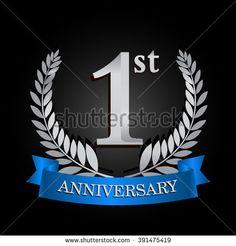 1st anniversary logo with blue ribbon. 1 years anniversary signs illustration. Silver anniversary wreath ribbon logo. - stock vector