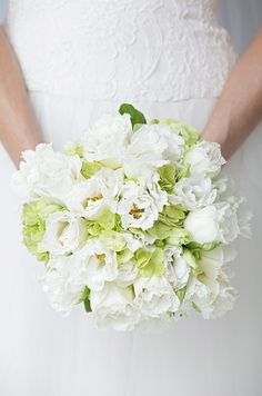 A white and light green bouquet of hydrangeas and fringed tulips accent this bride's delicate lace wedding dress.