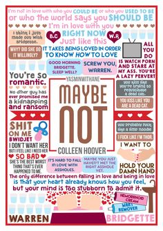 """Book Collage based on """"Maybe Not"""" by Colleen Hoover. Colleen Hoover is amazing. Go read all her books. Go follow her on all the social medias. More Colleen Hoover collages All my book collages"""