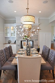 Lovely dining room—esp love the pendant lights❣ The ceiling treatment is a nice subtle, but elegant, touch❣ Street of Dreams - Portland, OR