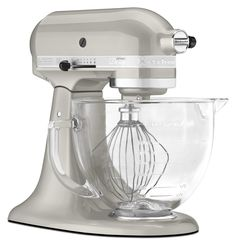 Artisan Design series mixer in Sugar Pearl finsh. Come with a glass bowl that has a handle.