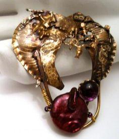 Purple Wildpearl andartglass brooch in sterling and marriend metals  12155purplepearl1 by abeadplace for $39.99