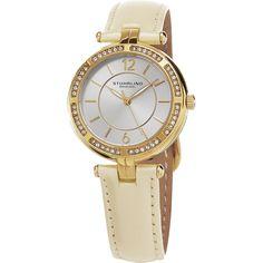 Stuhrling Original Women's Serena Quartz Cystal Beige Strap Watch