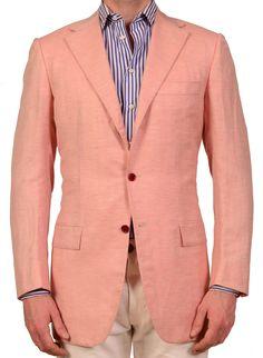 KITON Napoli Pink Herringbone Cashmere Linen Jacket US 38 Long NEW EU 48 L