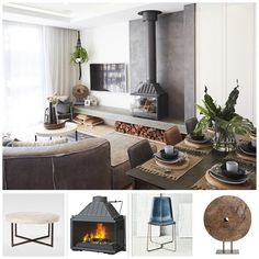 No photo description available. Home Fireplace, Living Room With Fireplace, Fireplace Design, Living Room Kitchen, Living Room Modern, Home Living Room, Living Room Designs, Fireplaces, Living Room Heater