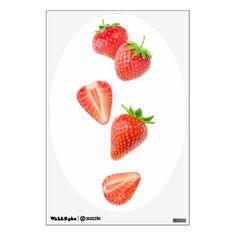 Falling strawberries wall sticker - vegan personalize diy customize unique