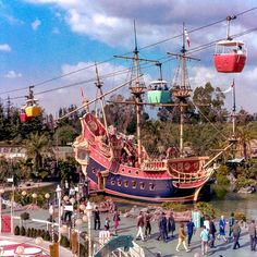 Daily Vintage Disneyland:Chicken of the Sea Pirate ship in Fantasyland with the Skyway buckets overhead