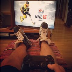 """""""This is the closest I can get to the action at the moment  #isitoctoberyet #nhl15"""" We can't wait to have you back, Aleksander Barkov! (Photo: Aleksander Barkov Instagram)"""
