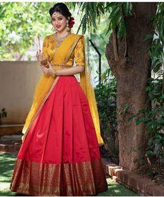 Indian Bridal Sarees, Indian Bridal Outfits, Indian Bridal Fashion, Half Saree Lehenga, Lehenga Saree Design, Wedding Lehenga Designs, Kurti Designs Party Wear, Indian Gowns Dresses, Indian Fashion Dresses