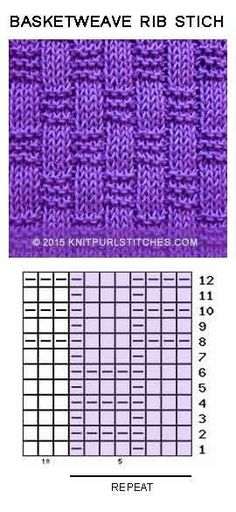 Basket-weave Rib stitch. Just Knit and Purl