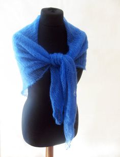 Blue mohair shawl silk scarf hand knit spring by Renavere on Etsy, $50.00