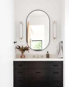 our Rye mirror brings a modern and streamlined element to any room. Black Cabinets Bathroom, Black Bathroom Mirrors, Master Bathroom, Wall Mirror, Cottage Bathroom Mirrors, Minimalist Bathroom Mirrors, Boy Bathroom, Bathroom Mirror Makeover, Bathroom Mirror Cabinet