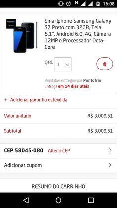 [Ponto Frio] Galaxy S7 preto por R$ 3.009 no boleto ou sem juros no PayPal