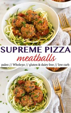 A healthy and low carb spin on pizza! ThesePaleo Supreme Pizza Meatballs have all the ingredients of supreme pizza in meatball form. They are packed with veggies, protein, and healthy fats, and are paleo, gluten and dairy free, and Whole30 approved! - Eat the Gains #supremepizza #glutenfree #paleo #whole30