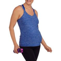 Danskin Now Maternity 2fer Active Top with Built-In Bra, Size: 2XL, Blue