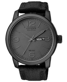 Citizen Men's Eco Drive Black Canvas Nylon