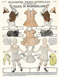 'Playmates from Storyland' Alice and rabbit paper doll