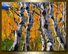 Autumn Birch Original Textured Palette Knife от willsonart на Etsy