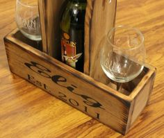 Wood Wine Caddy Wooden wine bottle and glasses holder Rustic Wedding Carrier Tote House warming Wedding Gift for Bride and Groom Country