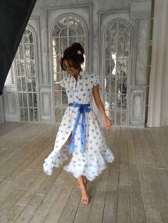 Купить КК-303 шифоновое платье в горошек - шифон, шифоновое платье, платье, Платье нарядное