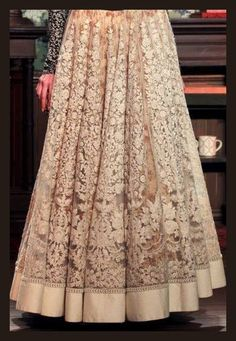 This sabyasachi lehenga with floral print boat neck blouse will do wonders in any wedding party! Pakistani Dresses, Indian Dresses, Indian Outfits, Desi Wear, Lesage, Desi Clothes, Indian Couture, Indian Attire, Indian Designer Wear