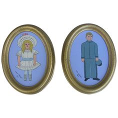 Here is a pair of paintings done in 1987 by Mary Kegel of Lititz, Pa. The little girl and boy are dressed in fashions of the Victorian Era...she in a frilly white dress with large bonnet and he appears to be clothed in a blue uniform. The paintings are in gold frames that are about 8 1/2' x 6 1/2' ovals. Both are in excellent condition and are signed front and back by the artist. Victorian Life, Gold Frames, Artist Painting, Boy Or Girl, Little Girls, White Dress, Mary, Paintings, The Originals