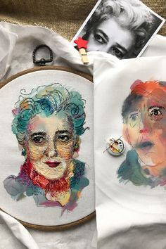 Watercolor painting and embroidery by Taisiya Kovali // hoop art // embroidery art // thread painting // mixed media