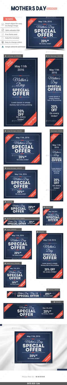 Mother's Day Banners Template PSD. Download here: http://graphicriver.net/item/mothers-day-banners/15642454?ref=ksioks