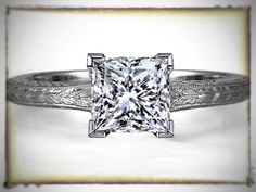 Princess Diamond Solitaire Wheat Engraved Engagement Ring