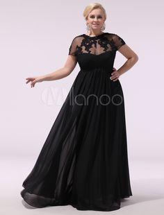 1f821e176e Black Prom Dresses Plus Size Evening Dress Chiffon Lace Applique Illusion  Short Sleeves Floor Length Wedding