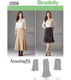 Simplicity Pattern US2058AA Misses & Plus Size Amazing Fit Skirt 10-18 at Joann.com