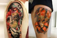 MONI MARINO - Most tattooers are known just for their portfolio, but Moni Marino is recognized for her hyperrealist tattoos AND her stylish visual appearance which ends up landing her photo shoots for magazine spreads.