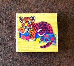 Vintage Lisa Frank Hunter Leopard Cub Stamp Wood Rubber Block Mount Rare Flowers #LisaFrank #Background