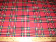 RED-STEWART-PLAID-100-COTTON-FLANNEL-FABRIC-58-WIDE-BY-THE-YARD