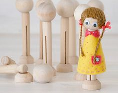 Unpainted Wooden Peg Doll Heads - Pesquisa Google
