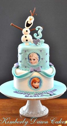 Frozen Olaf Elsa and Anna cake for kids 2015 Halloween - heart, bow